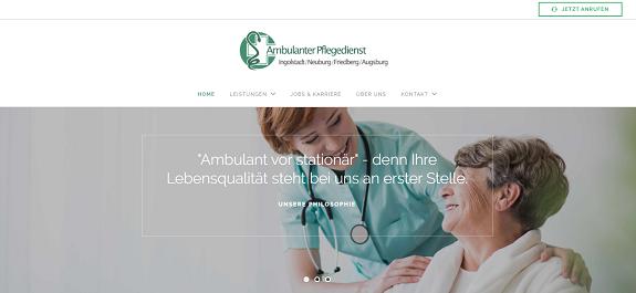 Webseite Ambulanter Pflegedienst Augsburg